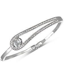Badgley Mischka Silver-Tone Stone & Crystal Bangle Bracelet