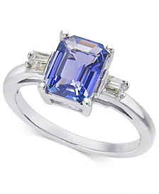Tanzanite (1-3/4 ct. t.w.) & Diamond (1/8 ct. t.w.) Ring in 14k White Gold