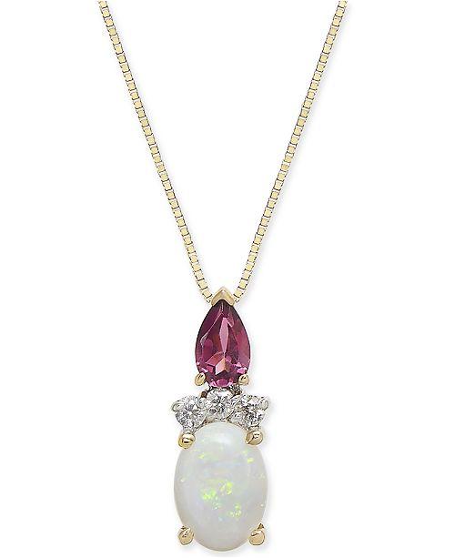 "Macy's Multi-Gemstone (3/4 ct. t.w.) & Diamond Accent 18"" Pendant Necklace in 14k Gold"