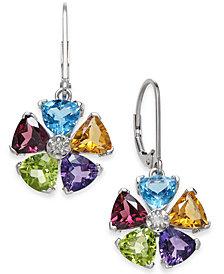 Multi-Gemstone Flower Drop Earrings (5 ct. t.w.) in Sterling Silver