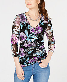 I.N.C. Floral-Print Mesh Top, Created for Macy's