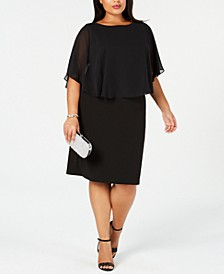 Plus Size Chiffon Cape Sheath Dress