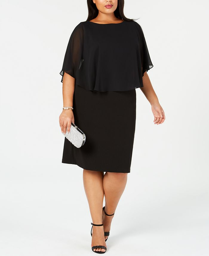 Connected - Plus Size Chiffon Cape Sheath Dress