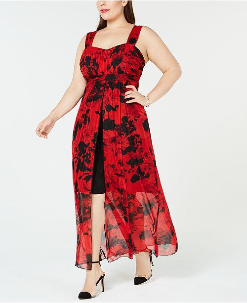 Connected Plus Size Chiffon High-Low Maxi Dress & Reviews - Dresses ...