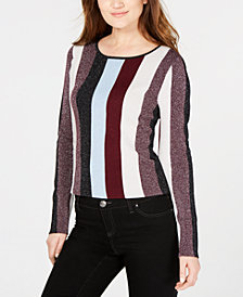 I.N.C. Petite Striped Metallic Sweater, Created for Macy's