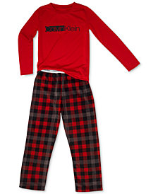Calvin Klein Big Boys 2-Pc. Fleece Pajama Set