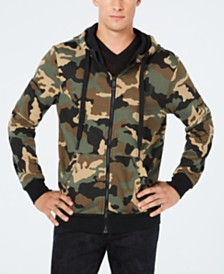 True Religion Mens Big T Camo Zip-Front Hoodie