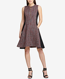 DKNY Tweed Colorblocked Fit & Flare Dress, Created for Macy's