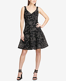 DKNY Embroidered Fit & Flare Dress, Created for Macy's