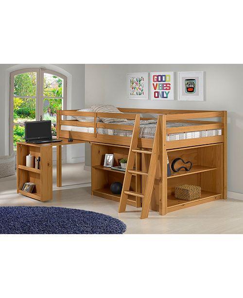 Roxy Junior Loft Bed With Storage Drawers Bookshelf And Desk