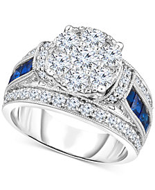 TruMiracle™ Diamond (1-3/4 ct. t.w.) & Sapphire (1 ct. t.w.) Ring in 14k White Gold