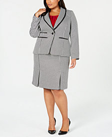 Kasper Plus Size Houndstooth Jacket, Pleated Shell & Skirt
