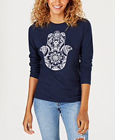 Freeze 24-7 Juniors' Cotton Hamsa-Graphic T-Shirt