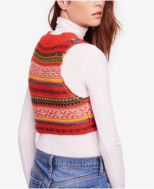 010d0a6aff3a Free People Fields of Fair-Isle Cropped Sweater Vest   Reviews ...