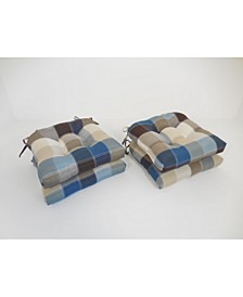 Harris Plaid Set of Four Chair Pad Seat Cushions