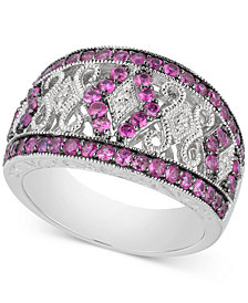 Ruby (1 ct. t.w.) and Diamond Accent Filigree Band in Sterling Silver