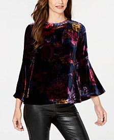 Trina Turk Printed Velvet Bell-Sleeve Top