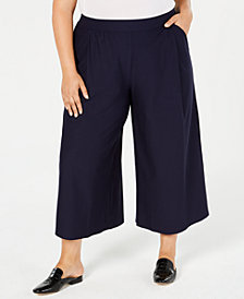 Eileen Fisher Plus Size Washable Crepe Wide Ankle-Length Pants