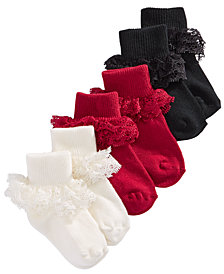 First Impressions Baby Girls 3-Pk. Holiday Lace Anklet Low-Cut Socks, Created for Macy's