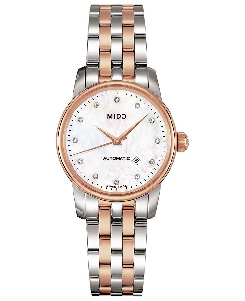 Mido Women's Swiss Automatic Baroncelli Diamond-Accent Two-Tone Stainless Steel Bracelet Watch 29mm