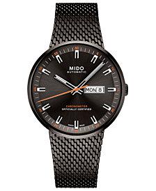 Mido Men's Swiss Automatic Commander II Cosc Black PVD Stainless Steel Bracelet Watch 42mm