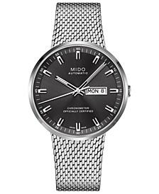Men's Swiss Automatic Commander II Cosc Stainless Steel Mesh Bracelet Watch 42mm