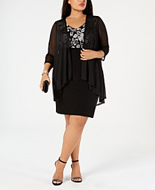 Plus Size Metallic Embroidered Dress & Mock Jacket