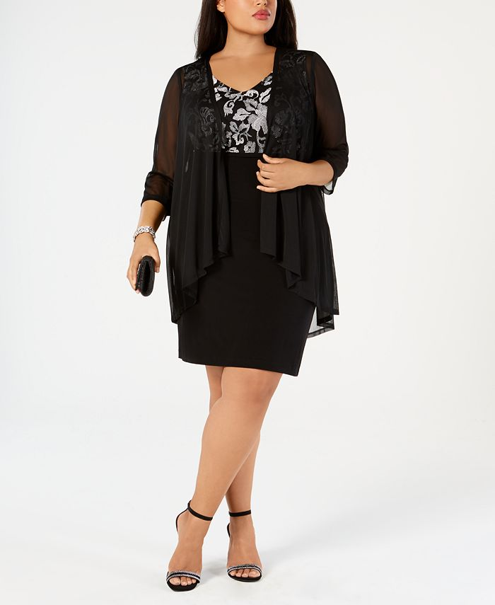Connected - Plus Size Metallic Embroidered Dress & Mock Jacket