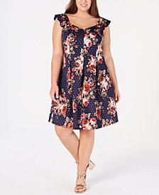 Monteau Trendy Plus Size Scalloped A-Line Dress