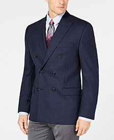 Lauren Ralph Lauren Men's Classic/Regular Fit UltraFlex Navy Plaid Double Breasted Wool Sport Coat
