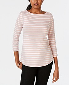 Petite Pima Cotton Button-Shoulder Striped Top, Created for Macy's
