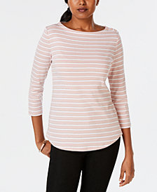 Charter Club Petite Button-Shoulder Print Top, Created for Macy's