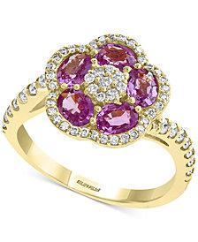 EFFY® Pink Sapphire (1-3/8 ct. t.w.) & Diamond (3/8 ct. t.w.) Flower Ring in 14k Gold