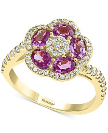 EFFY® Pink Sapphire (1-3/8 ct. t.w.) & Diamond (3/8 ct. t.w.) Flower Ring in 14k Gold