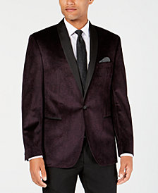 Ryan Seacrest Distinction™ Men's Modern-Fit Burgundy/Black Velvet Paisley Dinner Jacket, Created for Macy's