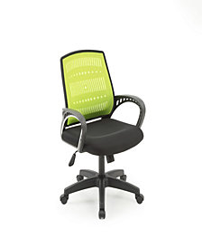 Mesh, Mid-Back, Adjustable Height, Swiveling Office Chair with Padded Seat in Green