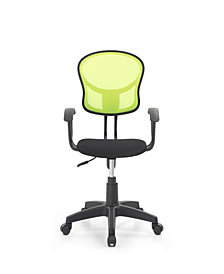Mesh, Mid-Back, Adjustable Height, Swiveling Task Chair with Padded Seat in Green