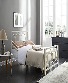 Complete Metal Full-Size Bed with Headboard, Footboard, Slats and Rails in Ivory