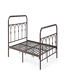 Complete Metal Queen-Size Bed with Headboard, Footboard, Slats and Rails in Bronze