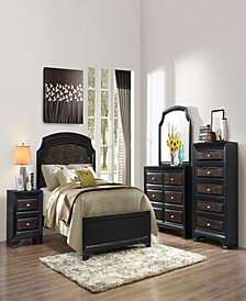 Farrah Complete Panel Queen-Size Bed with 57 in. H Headboard in Olivia Black Finish