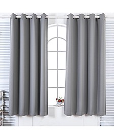 """72"""" Lamia Premium Solid Insulated Thermal Blackout Grommet Window Panels, Fossil Grey"""