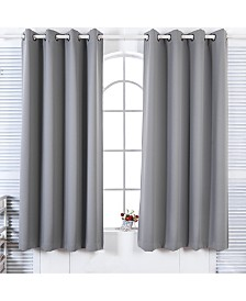 "72"" Lamia Premium Solid Insulated Thermal Blackout Grommet Window Panels, Fossil Grey"
