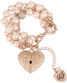 Betsey Johnson Rose Gold-Tone Pavé & Imitation Pearl Winged Heart Charm Bracelet
