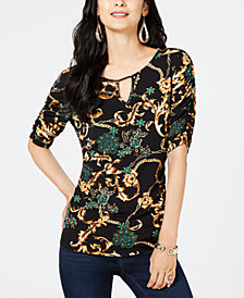 Thalia Sodi Printed Elbow-Sleeve Keyhole Top, Created for Macy's