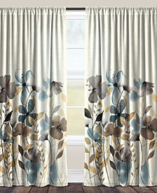 "Greige Florals 84"" Sheer Window Curtain"