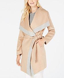 MICHAEL Michael Kors Contrast-Trim Belted Wrap Coat