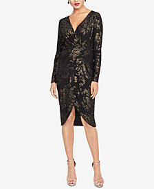RACHEL Rachel Roy Metallic-Print Faux-Wrap Dress
