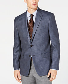 Lauren Ralph Lauren Men's Classic/Regular Fit UltraFlex Blue Mini Check Silk & Wool Sport Coat