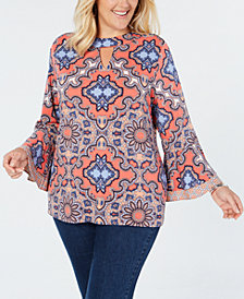 Charter Club Plus Size Medallion-Print Ruffle-Cuffed Top, Created for Macy's