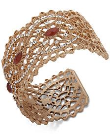 lonna & lilly Gold-Tone Pavé & Stone Openwork Cuff Bracelet